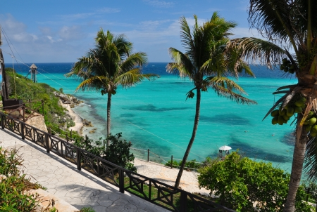 perfect tropical sea landscape. island Isla Mujeres (Women Island). Mexico, Yucatan