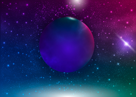 Galaxy background with nebula, planet and star cluster. Vector cosmic illustration.