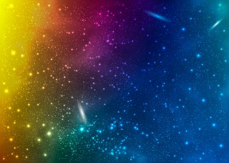 Nebulosas brillantes y coloridas. Fondo de pantalla de nubes interestelares. Fondo del espacio exterior Ilustración cósmica de vector.