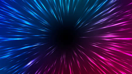 Vector illustration of faster than light (FTL) interstellar or intergalactic travel. Speed of light and hyperspace. Colorful design template for poster, banner, cover, catalog, wallpaper.