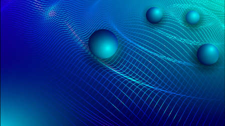 Gravity, gravitational waves concept. Physical and technology background. Design with gravity grid and spheres.