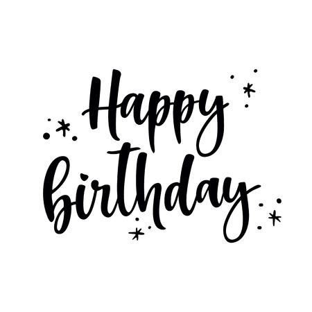 italics: Happy Birthday Brush Script Style Hand lettering