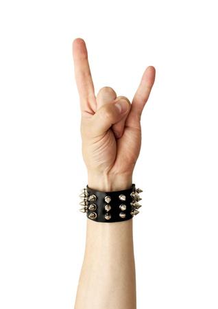 Hand of rocker in leather bracelet