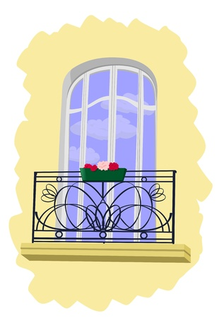 balcony window: Window with small balcony Stock Photo