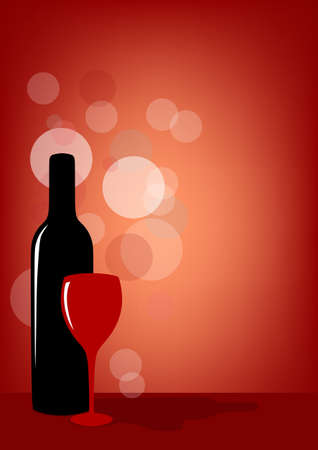 Bottle of wine and glass on red background Stock Photo - 17610139