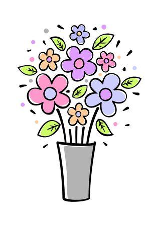 11 Flowers in vase-gray illustration on white background Vector