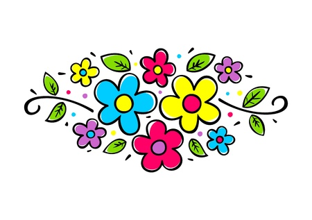 green been: Flower composition with decorative elements - vector illustration on white background