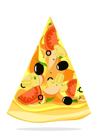 Pizza slice on white background Vector