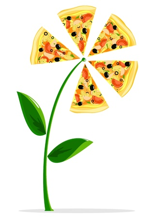 Pizza flower on white background Vector Illustration