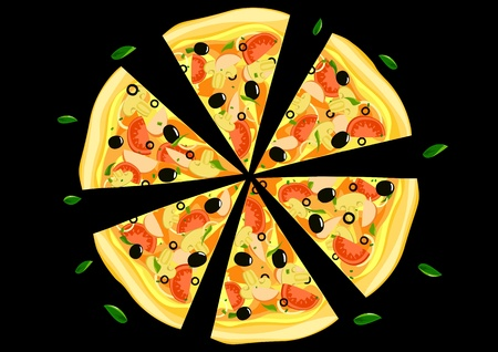 Pizza on black background Vector Illustration