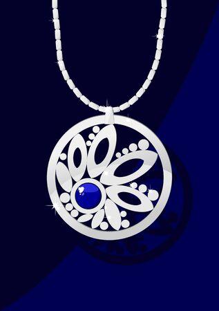 Elegant jewelry with gemstone blue on dark blue background Vector