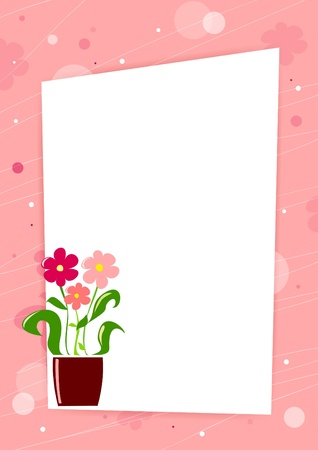 Pink card with flowers and place for text