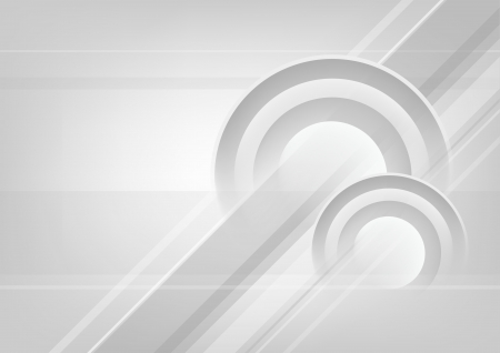 Abstract horizontal white - grey background with circles.