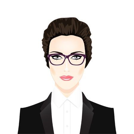 Face of beautiful brunette woman in glasses   Stock Illustratie