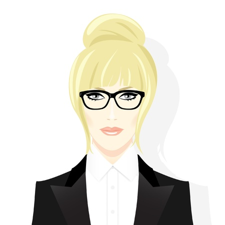 Face of beautiful blonde woman in glasses   Illustration