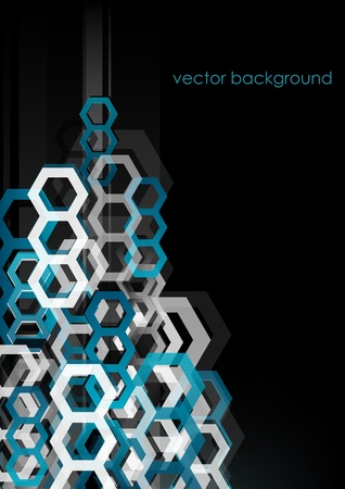 Abstract vertical black background with hexagons.