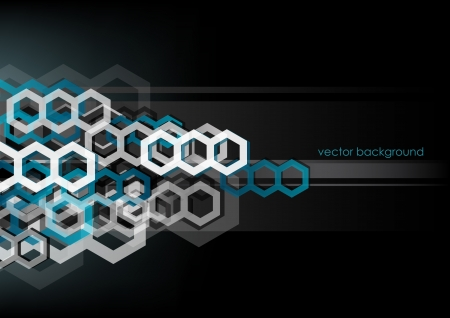 Honey comb: Abstract horizontal black background with hexagons   Illustration