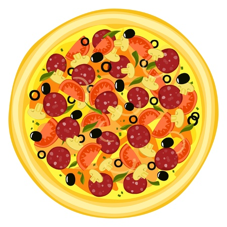 Pizza isolated with sausage on white background