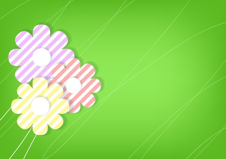 Horizontal green background with flowers   Stock Vector - 18404743
