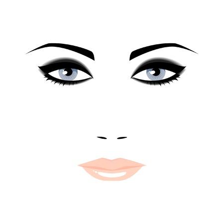 白い背景の青い目を持つ女性の肖像画
