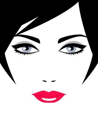 短い髪と白い背景の青い目と美しい女性の顔