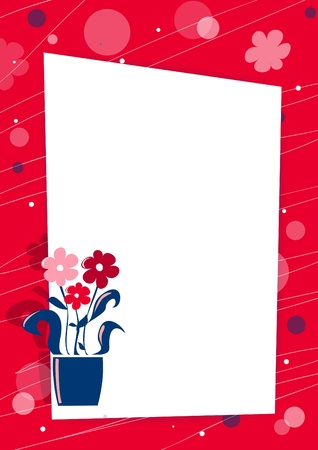 Red card with flowers and place for text