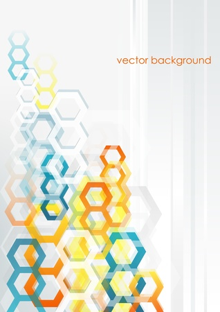 Abstract vertical background with colorful hexagons