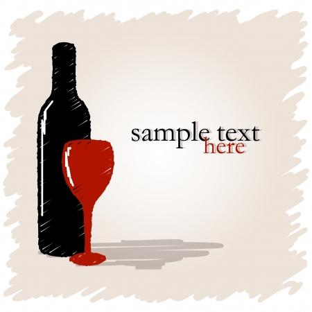 Dibujado botella de vino y vidrio sobre fondo claro con el lugar para el texto Ilustración de vector