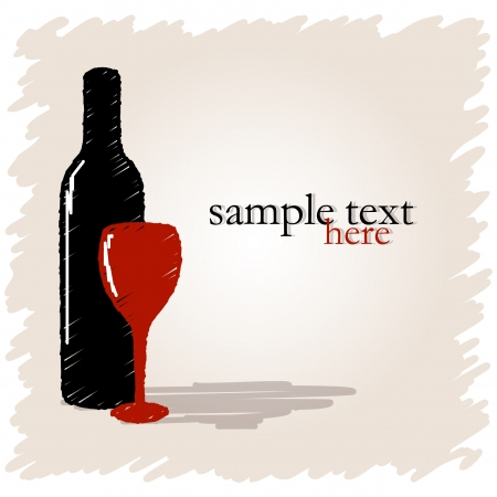 Drawn bottle of wine and glass on light background with place for text