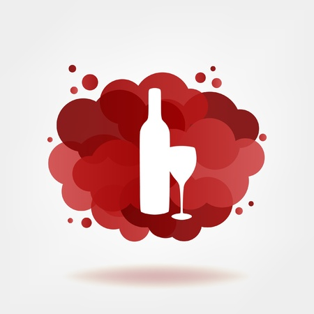Bottle and glass of red wine with transparent clouds   Vector