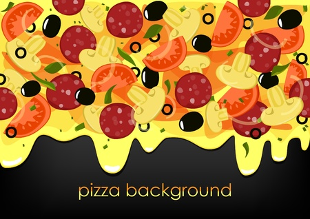 pizza place: Pizza on black background with place for text