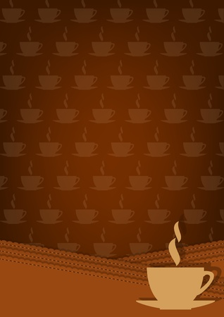 Brown background with cup of hot drink and ornament