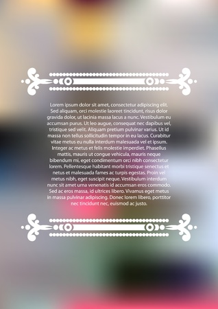 Vertical color blurred background with white ornament and place for text  Vettoriali