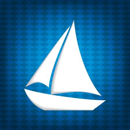 luxury yacht: White stylized sailing boat on blue background   Illustration