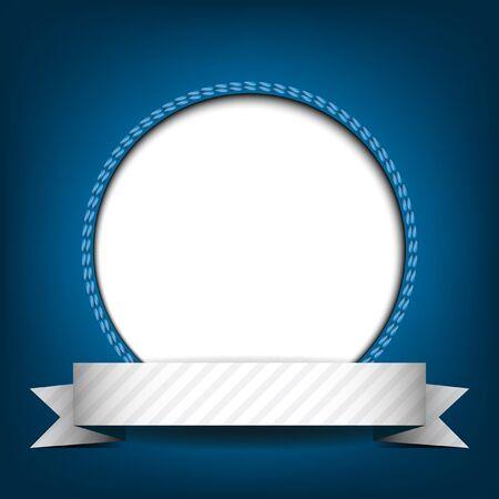テキストまたは青の背景にイメージのための場所で白い円