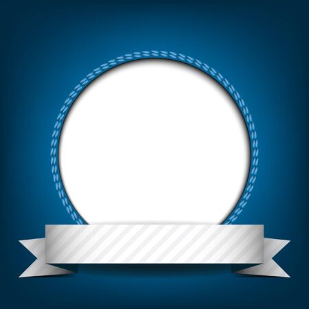 blue ribbon: White circle with place for text or image on blue background