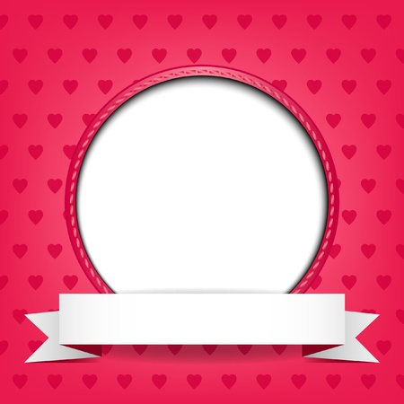 love photo: White circle with place for text or image on red background