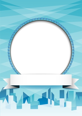 White circle with place for text or image on blue abstract background with city