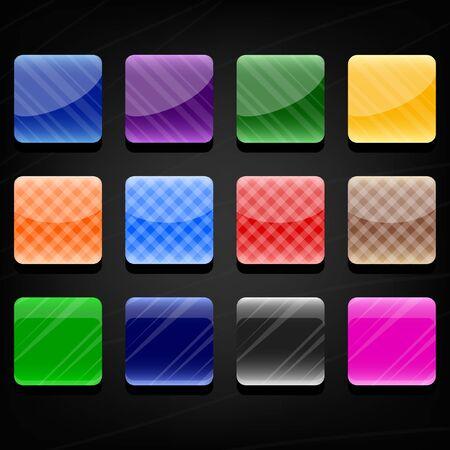 暗い背景に 12 色鮮やかな光沢のあるボタンのセット  イラスト・ベクター素材