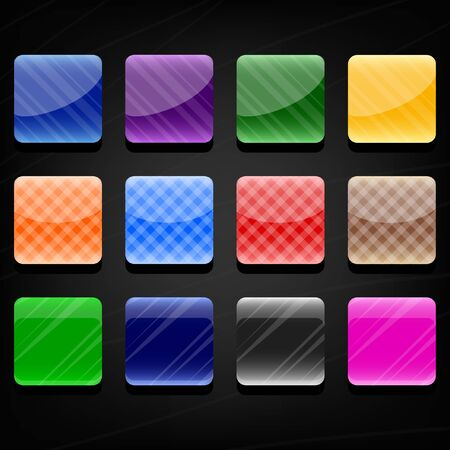 Set of twelve colorful glossy buttons on a dark background