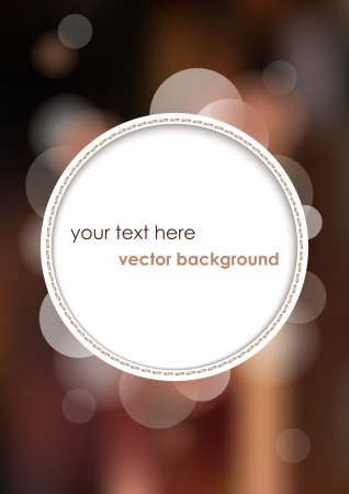 White circle with place for text or image on brown blurry background   Vettoriali