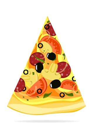 Rebanada de la pizza aisladas sobre fondo blanco Ilustración de vector