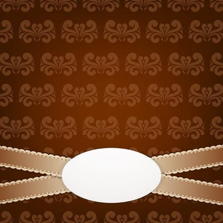 Brown vintage background with ornament and laces   Vector