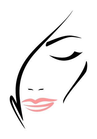 Beautiful woman s face with closed eyes on white background   Vector