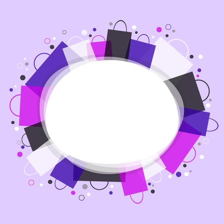 Shopping - violet background with place for text   Illustration
