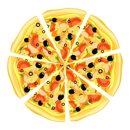 short pasta: Pizza on white background   Illustration