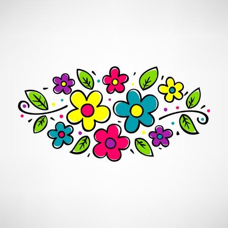 flores fucsia: Composición de la flor con los elementos decorativos sobre fondo blanco Vectores