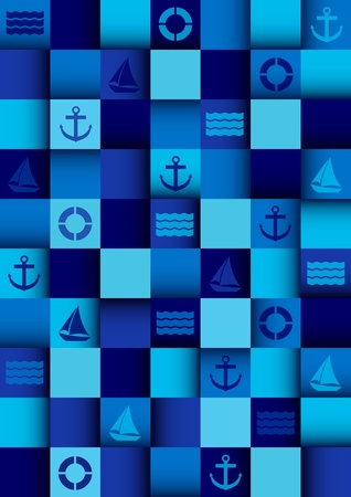 boat party: Sea mosaic background