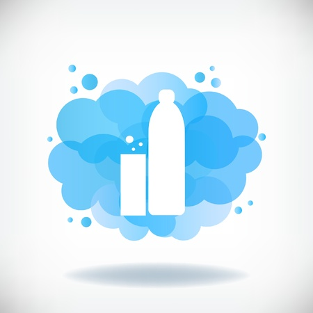 Bottle and glass of water with transparent clouds