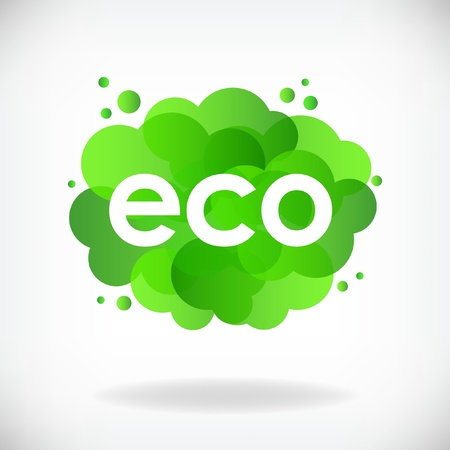 Green cloud with inscription ECO
